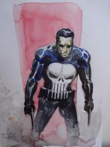 RICHARD ISANOVE original art, PUNISHER, Signed, 12x17, water color, Armed, Skull