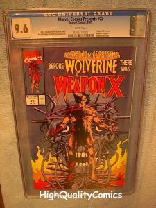 MARVEL COMICS PRESENTS 72, CGC 9.6, NM+, Weapon X, Wolverine, more CGC in store