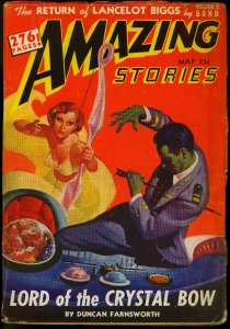 Amazing Stories Pulp May 1942- Good Girl Art cover- Nelson S Bond VG