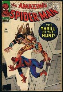 Amazing Spiderman #34 ORIGINAL Vintage 1966 Marvel Comics Kraven the Hunter