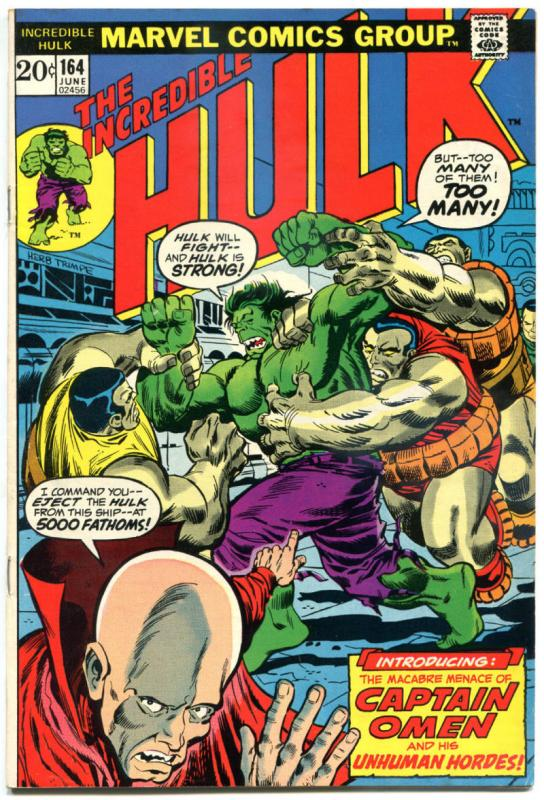 HULK #164, FN, Bruce Banner, Omen, ArmBuster, 1968, Incredible, more in store