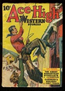 ACE-HIGH WESTERN JAN 1942-PULP-GOOD GIRL ART-PEARSOL- FN