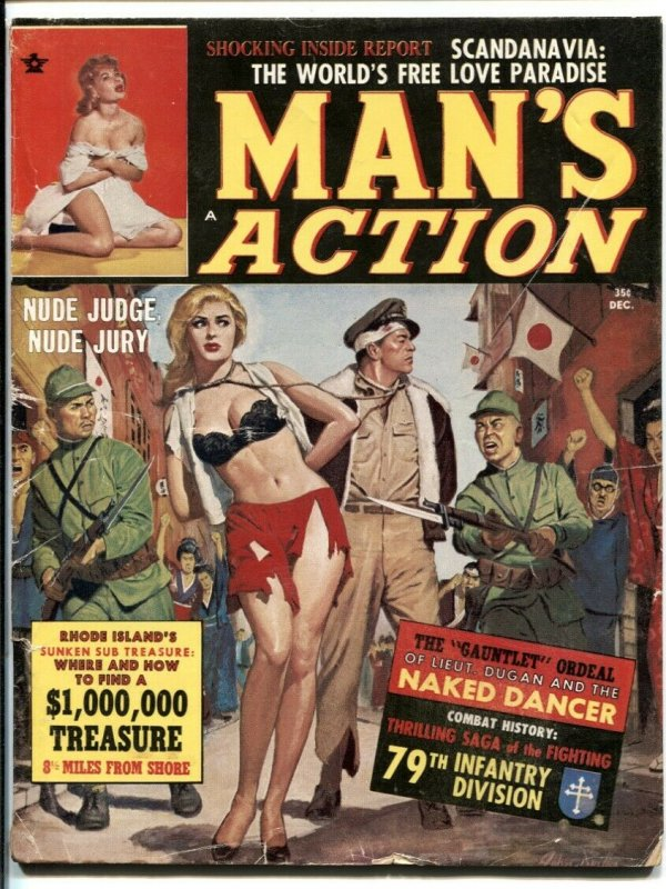 Man's Action December 1963- spicy WWII Japanese cover VG