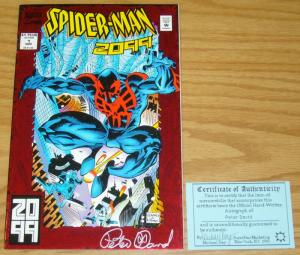 Spider-Man 2099 #1 VF/NM marvel comic signed by Peter David with COA