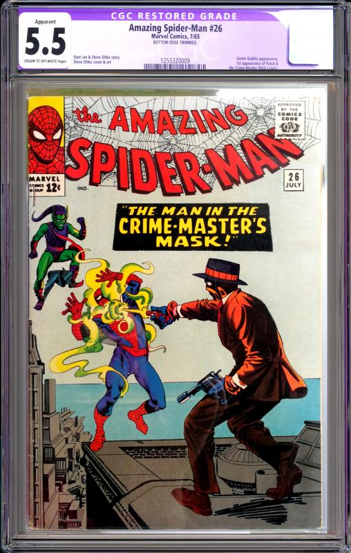 Amazing Spider-Man #26 CGC Graded 5.5 Restored 1st App Patch / Crime-Master