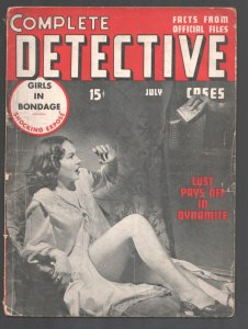 Complete Detective Cases 7/1940-Terrified woman in lingerie cover-Girls In B...