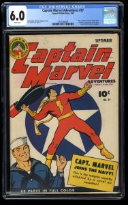 Captain Marvel Adventures #27 CGC FN 6.0 White Pages 1st Mr. Mind!