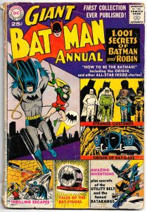 SuperCool!  BATMAN ANNUAL #1 (1961) Only GD+ . . But What a GOOD Time of BatFun!