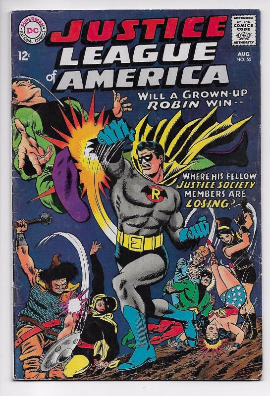 Justice League of America #55 - 1st Earth II Robin as Adult (DC, 1967) - VG/FN