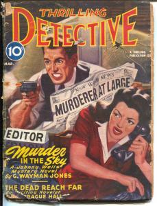 Thrilling Detective 3/1945-terror cover-Fleming-Roberts story-WWII pulp crime-G