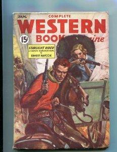 COMPLETE WESTERN PULP-JAN-1935-GUN GIRL CVR-RED CIRCLE! FN