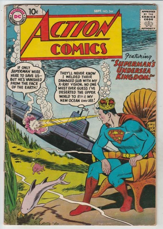 Action Comics #244 strict VG/FN 5.0  1st Appearance - Super-Merman
