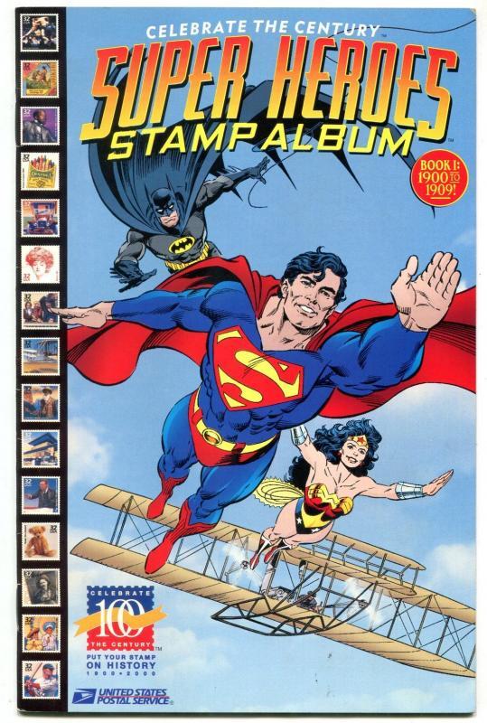 SUPER HEROES STAMP ALBUM-DC-SUPERMAN BATMAN FLASH 1998 VF/NM