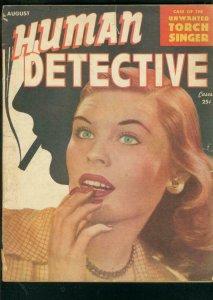 HUMAN DETECTIVE CASES-AUG 1947-PULP CRIME & HORROR-RARE VG