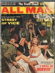 All Man 3/1963-Stanley-torture cover-opium-cheesecake-violence-FR