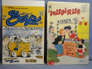 2 Vintage Comic Books R. CRUMB ZAP COMIX #1 1968 FRITZI RITZ Vol 1 #43 1956 L@@K