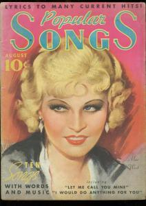 POPULAR SONGS #9-1935-MAE WEST COVER-ANN SOUTHERN-SOPHI G