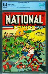 NATIONAL COMICS #9-CBCS 8.5-Uncle Sam-WWII issue-Lou Fine-Flag cover