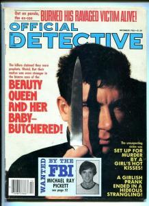 OFFICIAL DETECTIVE-DEC. 1985-RAVAGED VICTIM-BUTCHERED-MURDER-STRANGLING-R FN