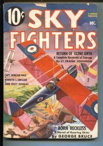 SKY FIGHTERS 12/1936-AIR WAR PULP-THRILLS-WWI-BI-PLANE-vg