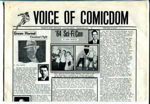 Voice of Comicdom #2 1964early collectors newsletter-comic strips-very rare-VG