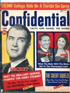 Confidential Magazine Jan 15 1960- Jimmy Stewart- Welk- Western Stars VG-