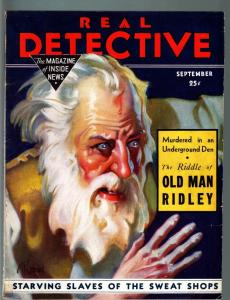 REAL DETECTIVE PULP-SEPT 1933-SWEAT SHOP SLAVE-BUNKO-MURDER-CRIME-RARE VG