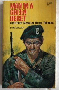 Man in a green beret Cebulash 1969, white pages