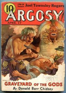 Argosy Pulp April 17 1937- VE Piles cover- Graveyard of the Gods G/VG