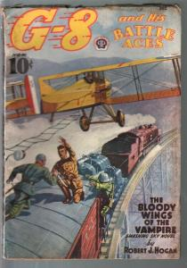 G-8 and His battle Aces 12/1938-Hero pulp-Bloody Wings Of Vampire-VG