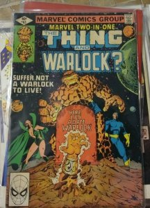 MARVEL TWO IN ONE # 63- the thing + WARLOCK  high evolutionary