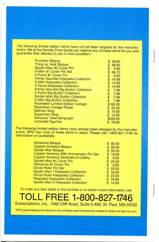 Novelty Price Guide #1 1991-1st issue-values of comic related items-VF