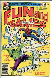 MARVEL FUN AND GAMES #2 1979-UNWORKED PUZZLES AND GAMES-SPIDERMAN-HULK-vf/nm