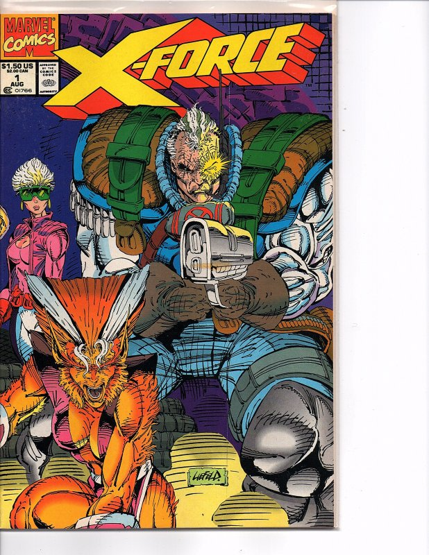 Marvel Comics X-Force Vol. 1 #1 Bagged w/Cable Card + Unbagged Rob Liefeld