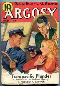 Argosy Pulp September 12 1936- Oriental Villain cover- George Bruce-  G/VG