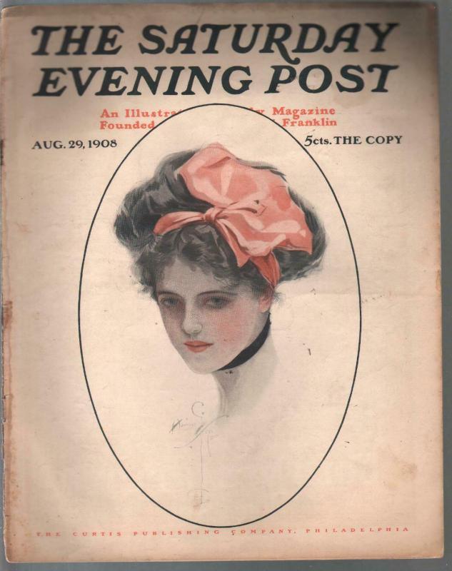 Saturday Evening Post 8/29/1908-Harrison Fischer cover-pulp fiction--ads-VG