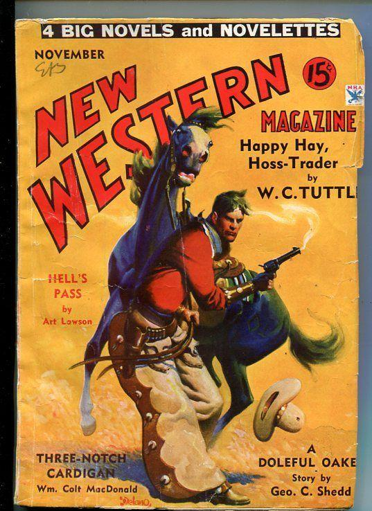 NEW WESTERN-NOV 1934-EXCITING PULP FICTION-MacDONALD-TUTTLE-vg