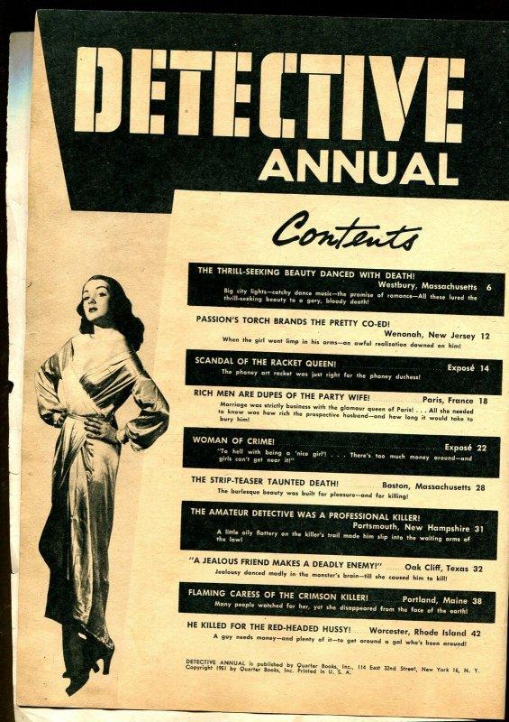 Detective Annual 1951-Quarter Books-spicy-Good Girl Art-blackmail-murder-P/FR