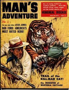 MAN'S ADVENTURE JAN 1958-TIGER COVER-JESSE JAMES -CRIME VG-