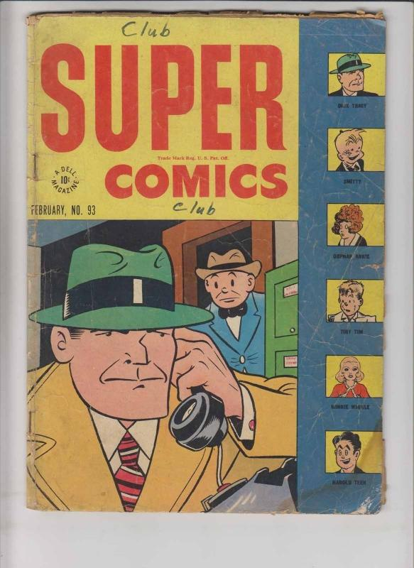 Super Comics #93 low grade - february 1946 - dick tracy - orphan annie - dell