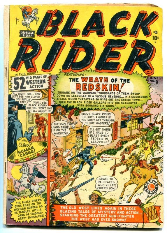 BLACK RIDER #9 1950- Atlas Western Golden Age- Wrath of the Redskin VG