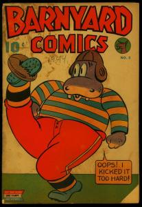 Barnyard Comics #3 1944- Football cover- Nedor Funny Animals- Gerber No Show G