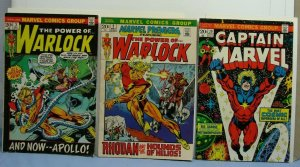 3 Bronze-Age Marvel Comic Books COSMIC Captain Marvel 29 Premiere #2 Warlock #3
