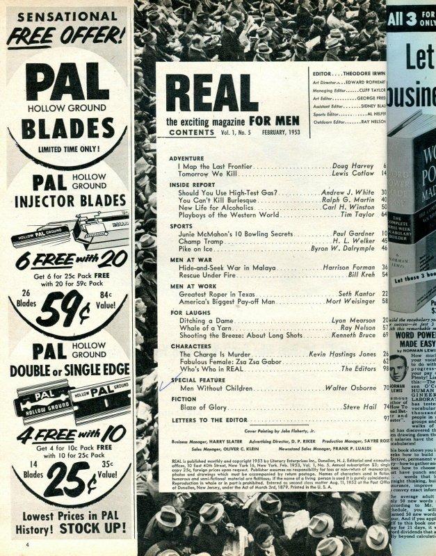 Real Magazine February 1953-HEADHUNTERS-BOWLING SECRETS-PULP THRILLS FN