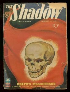 THE SHADOW JAN 15 1943- DEATHS MASQUERADE SKULL COVER G-
