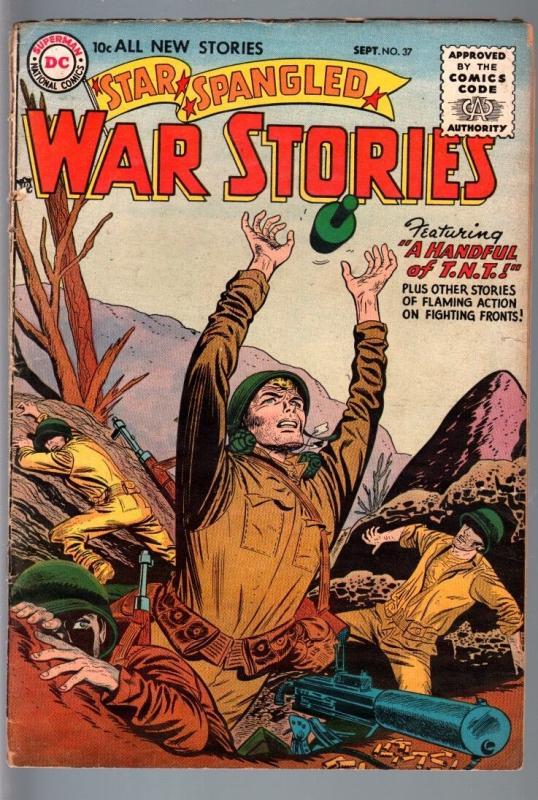 STAR SPANGLED WAR STORIES #37-1955-DC WAR COMIC-SILVER AGE-FR/G FR/G