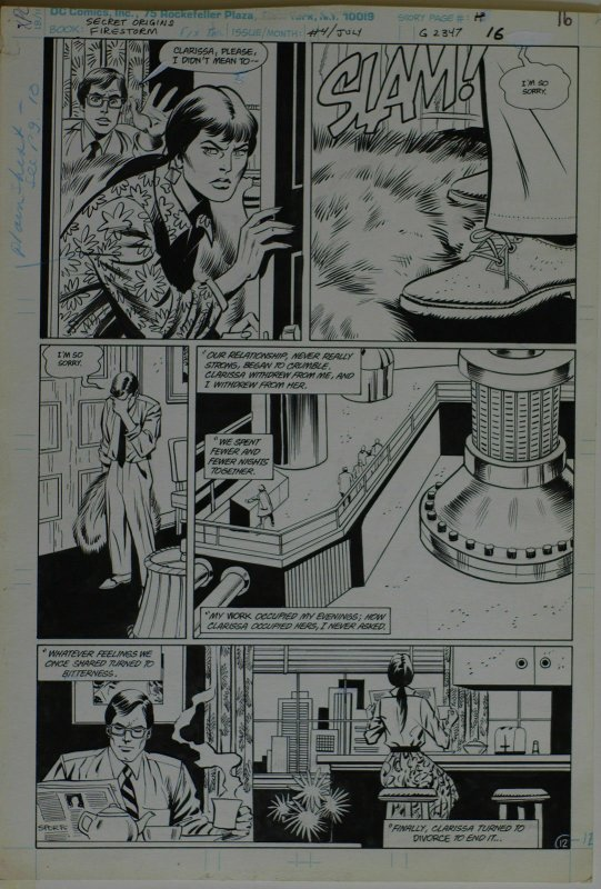 GEORGE TUSKA / PABLO MARCOS original art,SECRET ORIGINS FIRESTORM 4 pg 16,11x16