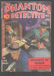 Phantom Detective 10/ 1938-Bank robbers use Tommy guns on Rudolph Belarski co...