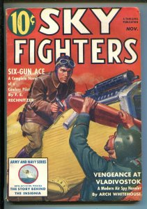 SKY FIGHTERS 11/1939-AIR WAR PULP-THRILLS-ARMY-NAVY-INSIGNIA-fn