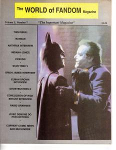 World of Fandom Magazine Vol. 2 #7 1989 Batman Anthrax Band Interview Cyborg ++